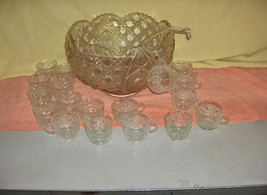 Vintage 38 Pc L E Smith Button  Daisy Large Glass Punch Bowl 18 Cups Gla... - $188.09