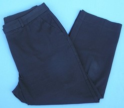Chicos Sz 1 S 8 Black Cropped Capri Pants Flat Front Womens Slacks Classic - $13.55