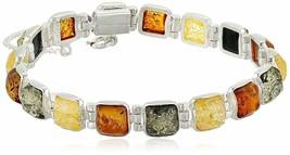 """New Sterling Silver 925 Multi Color 8mm Amber Gemstone Link Tennis Bracelet 7"""""""