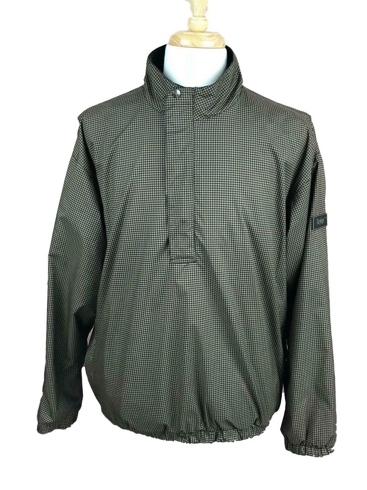 DryJoys by FootJoy Men's Golf Wind Rain Pullover Jacket Brown Black Check Large - $36.42