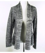 LAURA ASHLEY Size M Gray Shimmer Sequins Ruffled Peplum Cardigan Sweater - $16.99