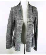 LAURA ASHLEY Size M Gray Shimmer Sequins Ruffled Peplum Cardigan Sweater - $16.99