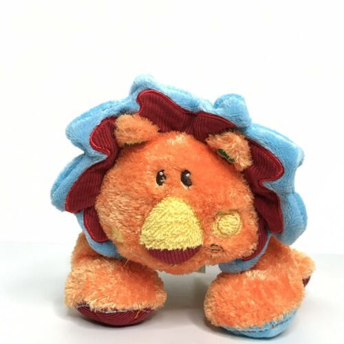"Mary Meyer Lion Plush Stuffed Animal Beanie Bright Colors Stripes Corduroy 10"""