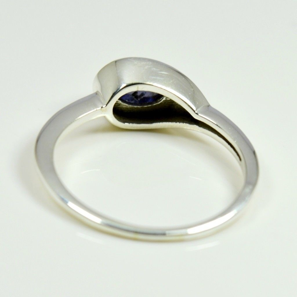 Real Cabochon Iolite Ring 925 Sterling Silver Oval Shape Astrology For Women