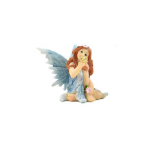 Shimmer Blue Sitting Fairy, Fairy with Gold Ball, Get Well or Birthday Gift - $7.99