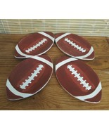 4 FOOTBALL SHAPE APPETIZER PLATES  9.5 X 5.5 GAME DAY TAIL GATE SAUCERS - $14.69