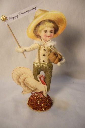 Vintage Inspired Spun Cotton Thanksgiving Boy w/Turkey