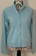 NY Jeans NY & Co Pale Blue Hooded Zip Up Long Sleeve Jacket Size Medium NEW - $15.29