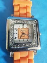 Square Face Geneva Ladies Quartz Watch.Japan Mvt.Silicone Band.Needs Battery. - $18.69