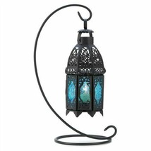 Sapphire Glass Black Metal Hanging Candle Lantern w/Stand - $12.94