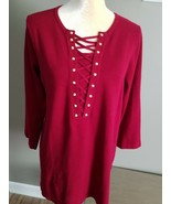 SPENSE Red Sweater. Ladies size L. Gold tone buttons - $21.49