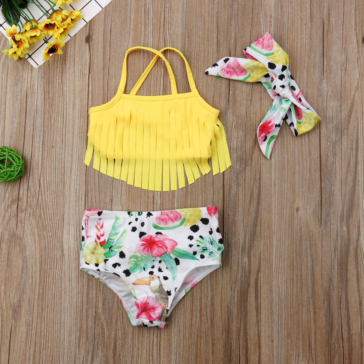 Newborn Infant Baby Girl Swimwear Suit Bird Floral Top Pant Outfit Beach Tankini image 2