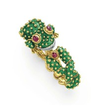 David Webb Yellow Gold Platinum Green Enamel Cabochon Ruby Diamond Frog ... - $37,500.00