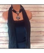 Rhinestone & Enamel Reversible Heart Charm Women's Black & Silver Scarf ... - $18.00