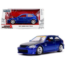 1997 Honda Civic Type R Candy Blue with Carbon Hood JDM Tuners 1/24 Diec... - $29.34