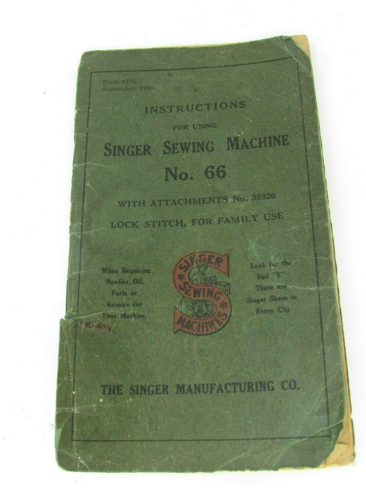 Singer Sewing Machine Vintage No 66 Original Operating Booklet 1920 32963 - $39.59 CAD