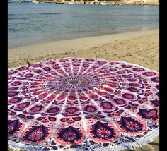 Barmeri Floral Bohemian Style Boho Cotton Beach Roundies Tapestry with F... - $17.99