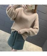 Korean Style Turtleneck Sweater Women Lantern Sleeve Knitted Long Sleeve... - €24,78 EUR