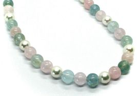 18K WHITE GOLD NECKLACE ALTERNATE AKOYA PEARLS WITH BLUE AND PINK AQUAMARINE image 3