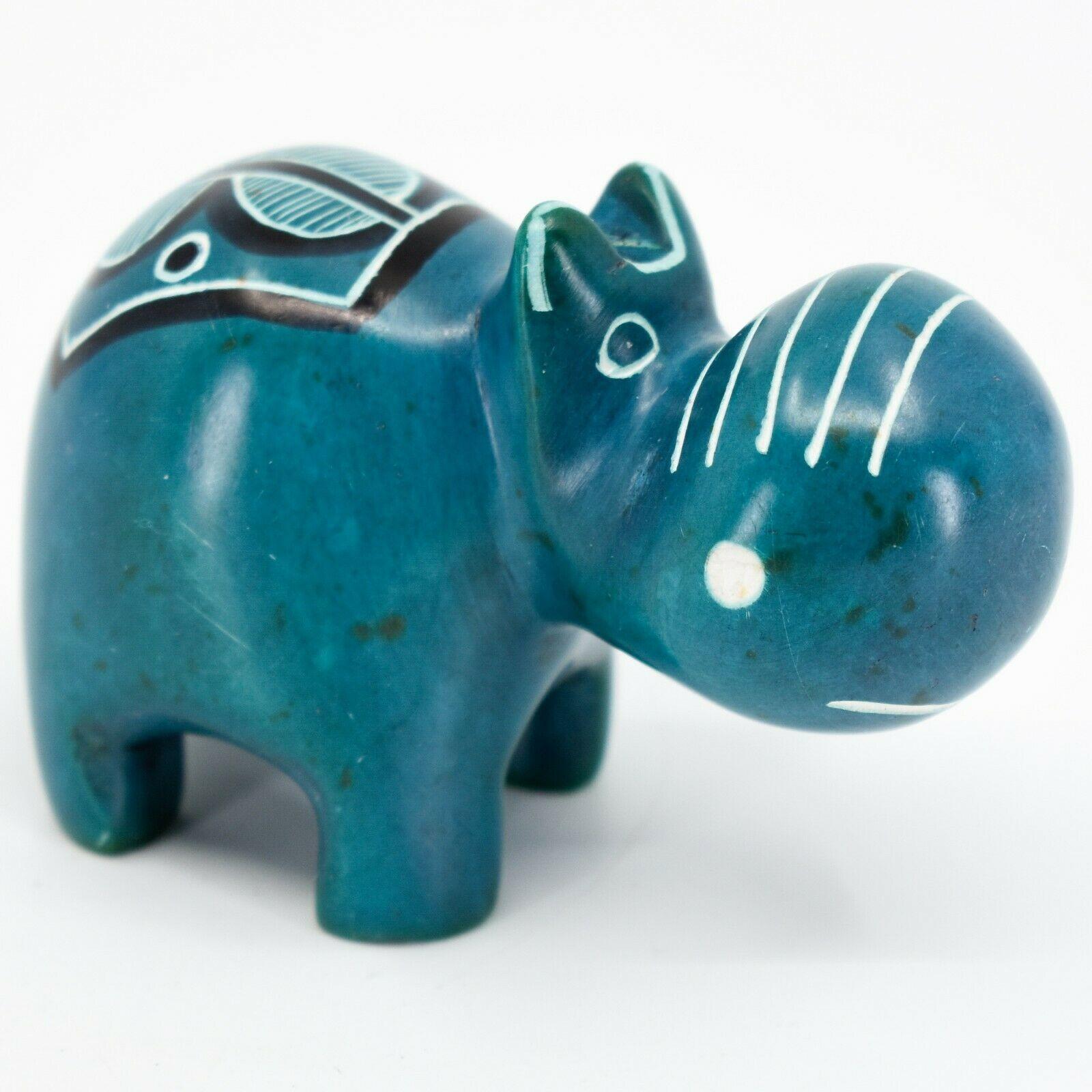 Crafts Caravan Kisii Soapstone Turquoise Hippopotamus Hippo Figurine Made Kenya