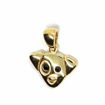 18K YELLOW GOLD MINI PENDANT, JACK RUSSELL DOG, BLACK ZIRCONIA MADE IN ITALY image 2