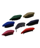 New British Army Type Officers Wool Mens Ladies Beret Hat Cap Lined Leat... - $9.62