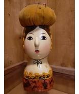 Vintage Chalkware Figurine Pin Cushion- Japan Hand Painted Female Bust  - $78.40