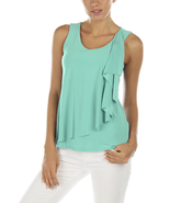 Cascading Ruffle Crossover Tank in Seafoam by Last Tango - NOW EXTRA 10%... - $33.90