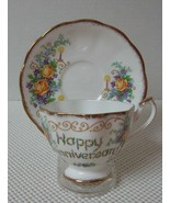 """China CUP & SAUCER by QUEEN ANNE """"HAPPY ANNIVERSARY"""" Floral Candles Gold Trim - $15.51"""