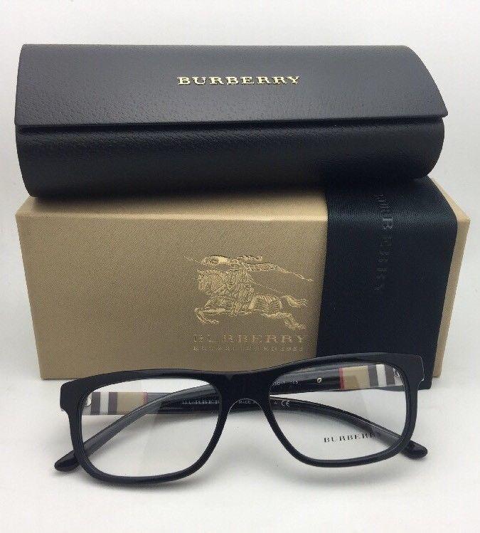 cda0247fdb2d New BURBERRY Eyeglasses B 2197 3001 53-17 145 Black Frame w/ Plaid Design