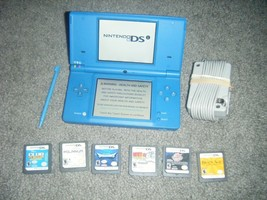 Nintendo DSi Matte BLUE Handheld System Console with Lot of 6 Games ds - $56.08