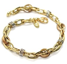 Gold Bracelet Yellow Rose and White 18K 750, Braid, Circles Alternating,... - $612.15