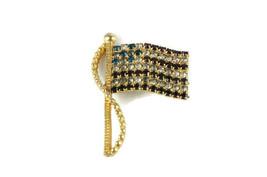 Vintage Jewelry Pin Brooch Signed Rafaelian American Flag USA Rhinestone - $18.67