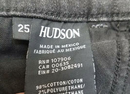 Faded Black/Gray Distressed Women Hudson Denim Mini Short Jean Skirt Sz 25 image 4