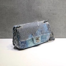 NEW AUTHENTIC CHANEL LIMITED RUNWAY BLUE SEQUIN MEDIUM  FLAP BAG RARE image 3
