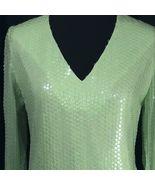 Victor Costa Dress Romantica Green GoGo Sequins Long Sleeve Zipper Back Med - $193.05