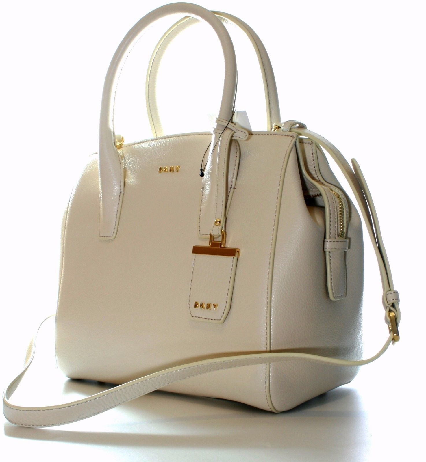 DKNY Donna Karan Sand Dollar Cream Leather Top Handle Bag Medium Handbag