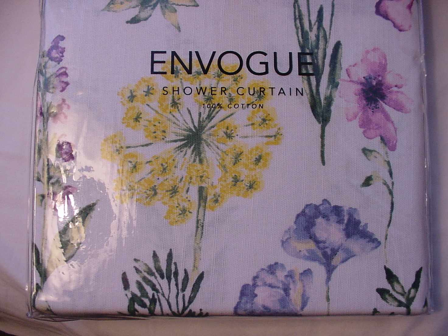 Envogue Purple Blue Yellow Wildflowers on White Shower Curtain