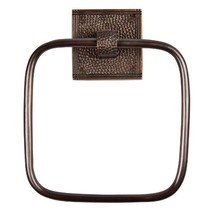 The Copper Factory CF135AN Solid Copper Towel Ring with a Square Backpla... - $70.36