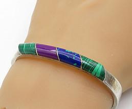 MEXICO 925 Silver - Vintage Malachite & Multi-Stone Bangle Bracelet - B6996 - $107.70