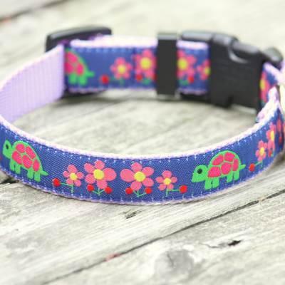 Navy Tortoise Jacquard on Lavender Nylon Adjustable Dog Collar / Made in Japan