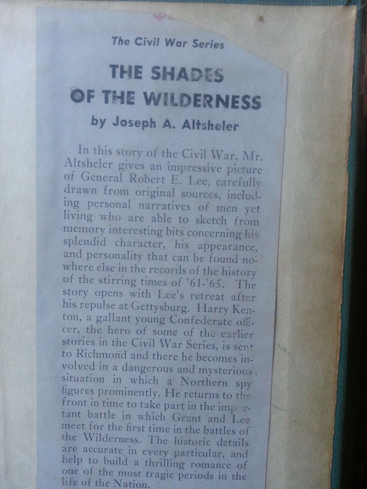The Shades of the Wilderness by Joseph A. Altsheler 1944 HB Lee's Last Stand