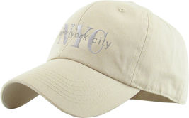 NYC Washed Polo Style Baseball Ball Cap Hat 100% Cotton - Ivory #KBT13  - $18.17