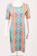 LuLaRoe Women's Julia Dress Small 4-6 Geometric Blue Orange Tetris 70s Retro - $19.79