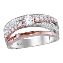 14k Two-tone Rose Gold Womens Round Diamond Crossover Band Ring 3/4 Cttw - $1,335.97