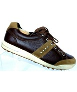 ECCO Men's TPU Spikeless Soft Cleats Brown Leather Golf Shoes Size 43 / ... - $41.96