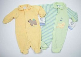 Carters Boys Girl Lot Of 2 Sz 3M 6M Nwt Terry Footed Sleeper Pajamas Duck Bear - $17.85