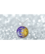 Sun And Moon Modern Yin Yang 1 inch Round Pendant 22 inch Necklace Gift - $24.95