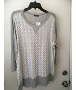 Cha Cha Vente Plus Size 1X gray and white with eyelet overlay in front N... - $15.79