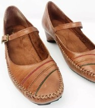 Mary Jane Pumps Womens Sz 8.5 Brown Leather White Mountain Short Heels - $29.70